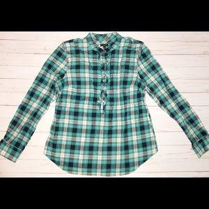 Talbots size 12P plaid button down ruffle shirt